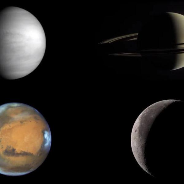 Saturn Jupiter Earth Moon