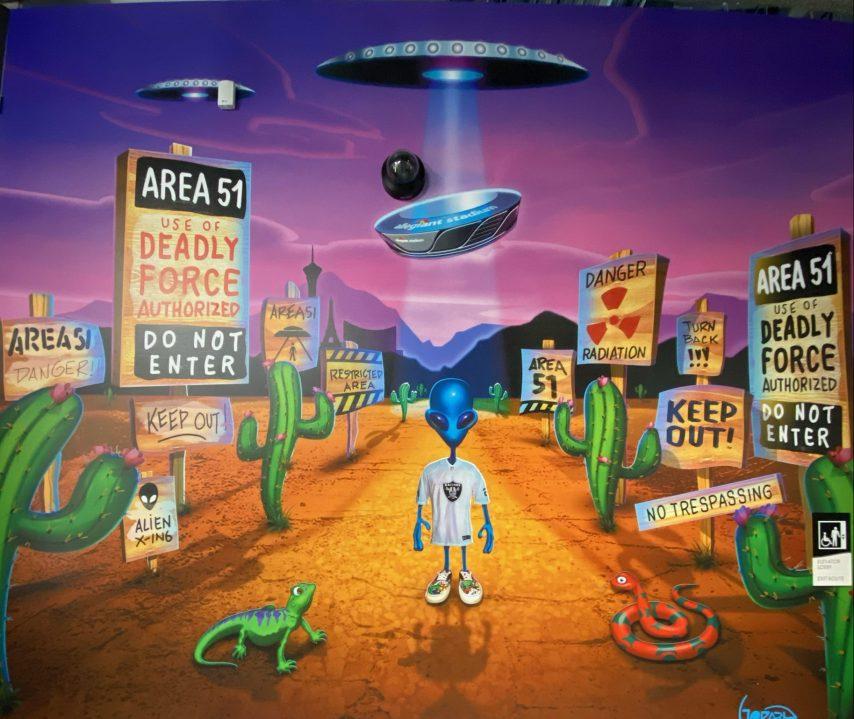 Painting of Area 51 inside the Las Vegas Raiders Allegiant Stadium next to the Area 41 bar. (Painting: Michael Godard https://www.michaelgodardartgallery.com/