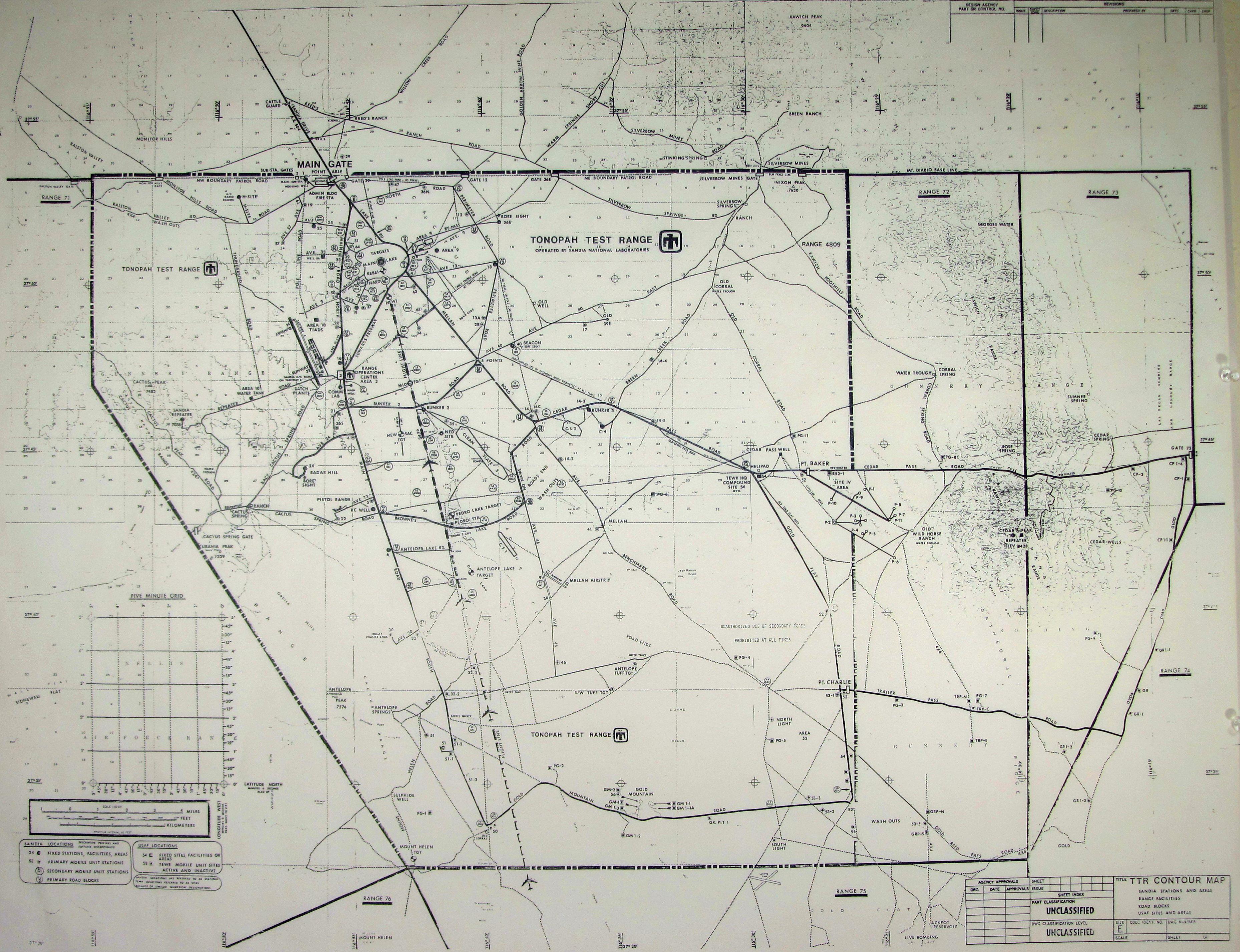 Tonopah Test Range Map